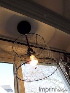 DIY Chicken Wire Pendant Light DIY Home Decor Crafts thread some beads - see other lamp shade