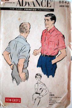 Vintage 1958 Advance 8842 Men's Sports Shirt by Recycledelic1, $6.00