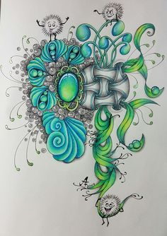 Sharpie art · gorgeous greens and blues. Zentangle Drawings, Doodles Zentangles, Art Drawings, Doodle Patterns, Zentangle Patterns, Zen Doodle, Doodle Art, Gem Drawing, Colored Pencil Techniques