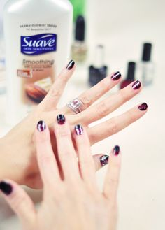 DIY Red Black Gold Galaxy Manicure