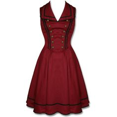 VERY LIMITED Vintage Style Tower of Terror Burgundy Bellhop Dress and... ($30) ❤ liked on Polyvore featuring costumes, dresses, pinup costume, disney, cosplay halloween costumes, red costumes and cosplay costumes