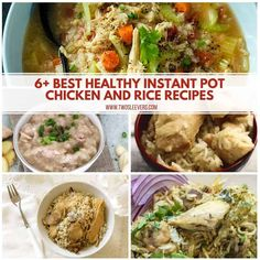 Here's a fantastic collection of healthy Instant Pot Chicken and Rice recipes, that use whole ingredients, with no canned cream soups. Chicken and Rice | Instant Pot Chicken and Rice| One pot Meals | Quick and Easy Chicken Dinners| Instant Pot Chicken And Rice Recipe, Chicken Rice Recipes, Soup Recipes, Family Recipes, Soup Appetizers, Appetizer Recipes, Easter Recipes, Recipes Dinner, Appetizer Ideas