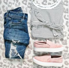 have distressed jeans and pink shoes...need a good striped top to go with it to compete this look