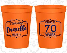 70th Party Favor Cups, Cheers to 70 years Cups, Cheers to Seventy Years, Party Favor Cups, Cheers Party Cups, Cheers Birthday Cups (20227)
