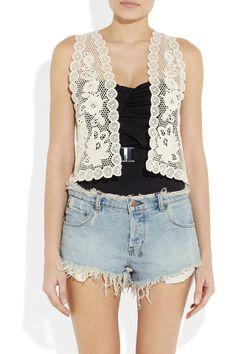 crochet-knit cotton vest