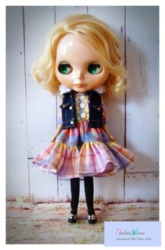 sweet Blythe outfit,  handmade,  3 pieces set,  pretty rainbow dress,  black stocking,  sleeveless jacket,  fur decorated on jacket,  sweet pattern,  lovely design,  fine and delicate.  high-quality finished.