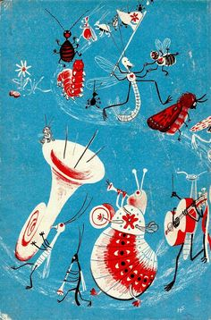 """Illustration by Heinrich Strub from """"Sumse Sumesebrumm"""", an adaptation of a children's rhyme by Korney Chukovsky, a Russian poet and children's author, 1946"""