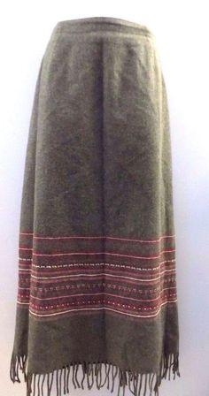 Women's Dressbarn Wool Blend Long Skirt with Fringe Size 12 #Dressbarn #Long