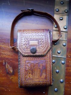 Vintage Retro 60s Tooled Leather Mayan by vintageheartbreaker