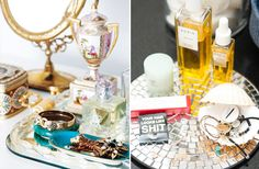 Vanity Vignettes -- creative ideas to spice up vanity table w/makeup and perfume.