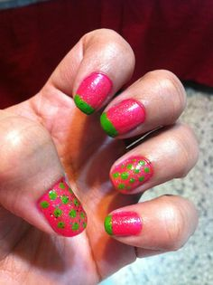 Green tips and polka dots theme!