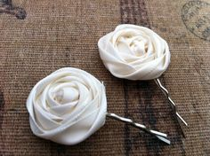 Wedding - Ivory Cream Rosette Bobby Pin Set....Flower Hair Accessory   Bride  Bridesmaid  Flower Girl  Prom..... $6.50, via Etsy.