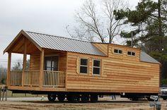 Log Cabin Mobile Homes, Cabin Homes, Log Homes, Tiny Homes, Prefab Homes, Tiny House Blog, Tiny House Plans, Cabin Tent, Little Cabin