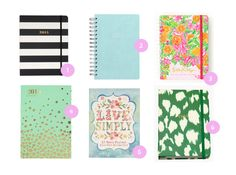 1. 2015 Kate Spade Black Academic Agenda 2. 2015 Paper Source Pool Academic Date Book 3. Large Agenda – Peelin' Out 4. 2015 Mint and Gold Confetti Planner 5. 2015 Live Simply Planner 6. Set the Stage 17-Month Medium Agenda – Green Painterly Cheetah