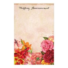 Vintage Floral Wedding Announcement Scrapbook Stationery - engagement gifts ideas diy special unique personalize