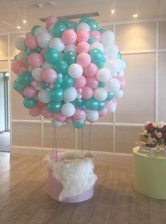 Up, up and Away! Customised hot air balloon sculpture in matte white, matte pink and pearl mint green
