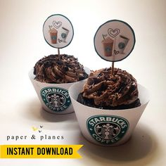 Printable Starbucks Cupcake Wrappers and Toppers Unique Party Themes, Party Ideas, Starbucks Cupcakes, Lollipop Sticks, Paper Plane, Cupcake Wrappers, Clay Tutorials, Party Printables, Planes