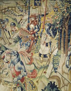 French cavalry & infantry, siege of Dole 1477 from a 1502 tapestry