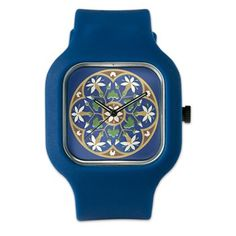 Unique Vintage Flower on Royal Blue Watch Best Christmas Gifts, Square Watch, Vintage Flowers, Unique Vintage, Flower Designs, Royal Blue, Bling, Watches, Diamond
