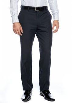 Louis Raphael Navy Straight Fit Flat Front Dress Pants