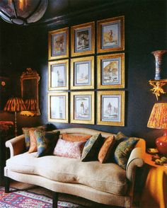 I'm loving navy and gold lately, so I apologize to all my clients in advance who get to hear me suggest this to them a billion times. Christopher Leach's London flat. World of Interiors Aug 2010