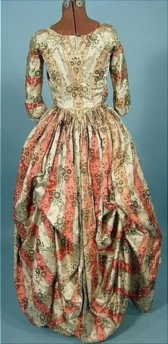 1770s Polonaise, striped silk satin with interior rope cords and loops (for gathering the back of the gown) still intact