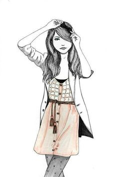 Fashion Illustrations - Collection of fashion illustrations from around the web from rough croquis to designer skecthes. Be inspired, study techniques or submit your own fashion art. Fashion Art, Fashion Models, Girl Fashion, Fashion Design, Fashion Tips, Tumblr Girl Drawing, Drawing Girls, Drawing Hair, Hipsters