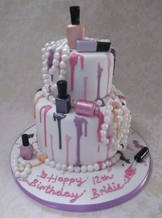 Children's Birthday Cakes | Nail polish tiered teen cake design, love the dripping of the different colors