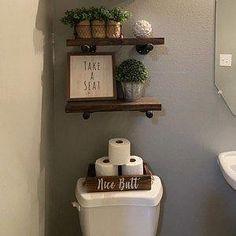 Half Bath Decor, Half Bathroom Decor, Bathroom Theme Ideas, Bathroom Shelves Over Toilet, Navy Bathroom, Small Bathroom Decorating, Bathroom Layout, Silver Bathroom, Bathroom Sets