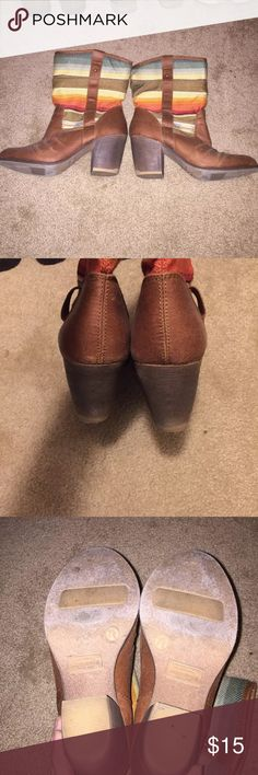 Target heeled boots Very cute sunset patterned boots. Not worn a lot but some wear. 1 1/2 heel. Willing to negotiate price Shoes Heeled Boots