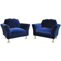 Pair of Velvet Mustache Back Club Chairs  By Arturo Pani. Mexico 1950's   From a unique collection of antique and modern club chairs at https://www.1stdibs.com/furniture/seating/club-chairs/