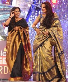 The two women who, in my opinion, carry the saree in the best way possible - Rekha and Vidya Balan Kanjivaram Sarees, Kanchipuram Saree, Kurti, Indian Attire, Indian Wear, Indian Dresses, Indian Outfits, Rekha Saree, Golden Saree
