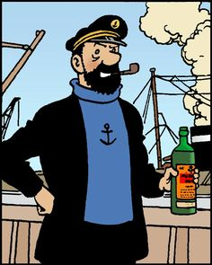Capitain Haddock // in his proper element! Haddock Tintin, Tin Tin Cartoon, Captain Haddock, Herge Tintin, Comic Art, Comic Books, Jordi Bernet, Ligne Claire, Art Drawings For Kids