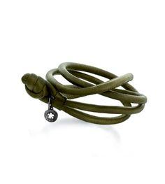 Ole Lynggaard Copenhagen Moss Green calfskin leather bracelet for drops and spots - Kennedy Jewellers