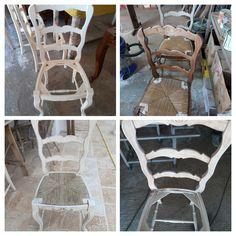 restauro con decapaggio sedia