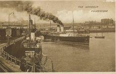 original 1920s postcard Ships in the Harbour FOLKESTONE Kent | eBay