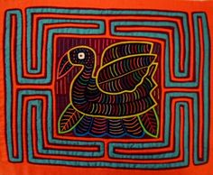 Kuna Indian Hand-Stitch Elegant Swan Bird Mola Art-Panama 16041211L