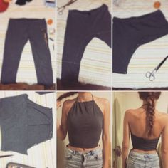 DIY ribbed high neck crop top out of leggings (First attempt :P):