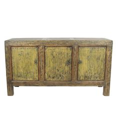 This is an antique Chinese sideboard from the province of Gansu. Made around the it is distressed with 3 doors and shelving inside. It has been refurbished and in great condition. Painted Sideboard, Antique Sideboard, Console Storage, Reproduction Furniture, Eclectic Taste, Chinese Antiques, Shelving, Home Furniture, Doors