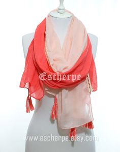 Coral Salmon Tassel Woman Scarf So Soft Lightweight Spring Summer Accessory Cotton Scarf Women Fashion Accessories Gift Ideas For Her Mom by  #escherpe #scarves #scarf #shawl #shawls #wrap #wraps #tartan #plaid #check #summer #trend #spring #women #fashion #accessories #holidays #holiday #christmas #gift #gifts #outfit #accessorize #style #ombre #love #cobalt #me #cute #valentines #nails #floral #beauty #beautiful #paisley #grey #pretty #chevron #coral #salmon #shopping #trend #trending…