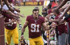 Ryan Kerrigan greets fans prior to the Redskins game ...