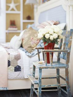 Love the vintage high chair! How cute is that in the bedroom!