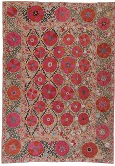 century Antique suzani from Uzbekistan. Pieces like this are associated with wedding customs and are among the most impressive examples of textile art. Textile Patterns, Textile Art, Print Patterns, Century Textiles, Stoff Design, Art Japonais, Motif Floral, Vintage Design, Rugs On Carpet