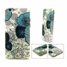 iPhone 6/6S TPU Case of Floral Blue and Green on Cream Background on a Black base.