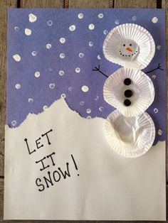 Muffin Tin Mom: Easy Cupcake Liner Snowman Craft For Kids Winter Crafts For Kids, Winter Kids, Winter Art, Winter Theme, Craft Activities, Preschool Crafts, Kids Crafts, Arts And Crafts, Cupcake Liner Crafts