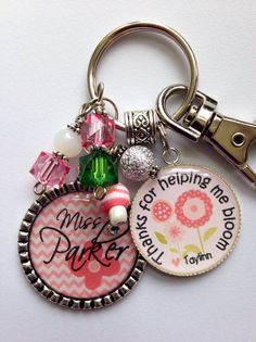 """Teacher gift, Personalized key chain present aunt teacher, preschool, daycare caregiver Thank you for helping me bloom"""" chevron flowers"""