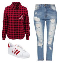 """""""Red Plaid"""" by ella178 ❤ liked on Polyvore featuring adidas, ootd and Trendy"""