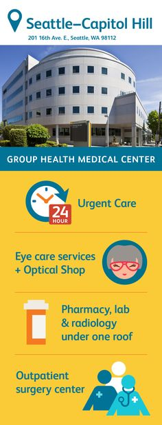 Find services (including an adolescent center), phone numbers, operating hours, maps, and directions for Kaiser Permanente's Capitol Hill Campus Group Health, Health Center, Optical Shop, Surgery Center, Urgent Care, Capitol Hill, Primary Care, Radiology, Medical Center