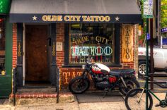 triumph cafe racer outside a tattoo shop Top Tattoos, Tatoos, Wing Tattoos, Heart Tattoos, Neck Tattoos, Ankle Tattoos, Zoella, Studio Bar, Dream Studio