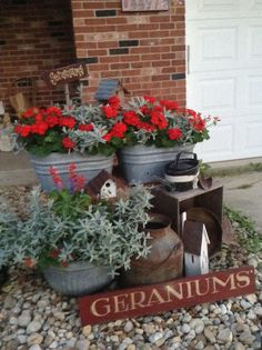 Wash tub planter with geraniums. Love the red!